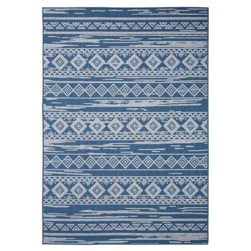 Union Rustic Eveloe All Weather Tribal Motif Blue Indoor Outdoor Area Rug Wayfair