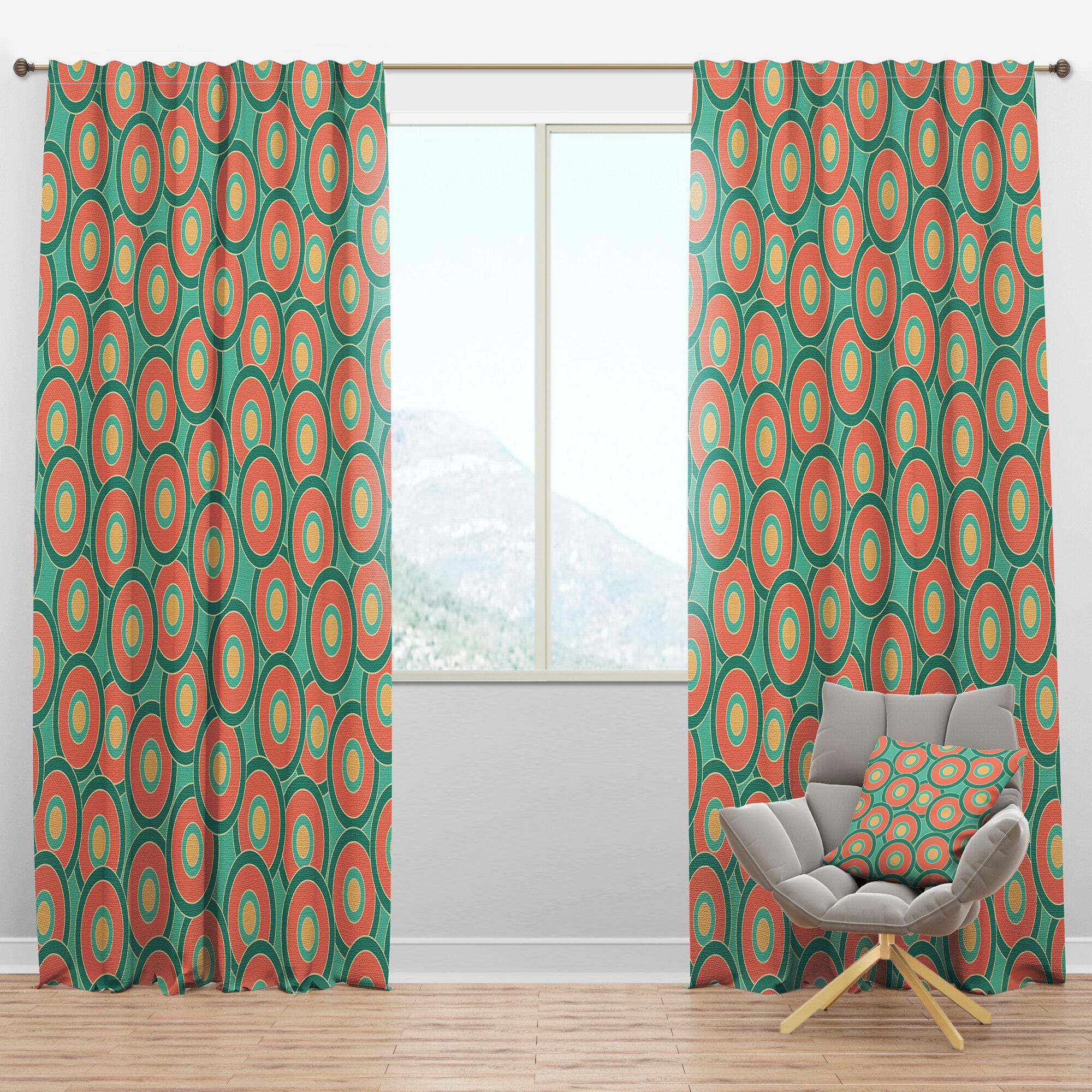 Designart Mid Century Circular Pattern Vi Geometric Semi Sheer Thermal Rod Pocket Single Curtain Panel Wayfair