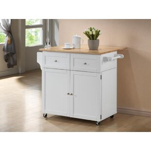 Lemons Storage Kitchen Cart Granite Top Alcott Hill