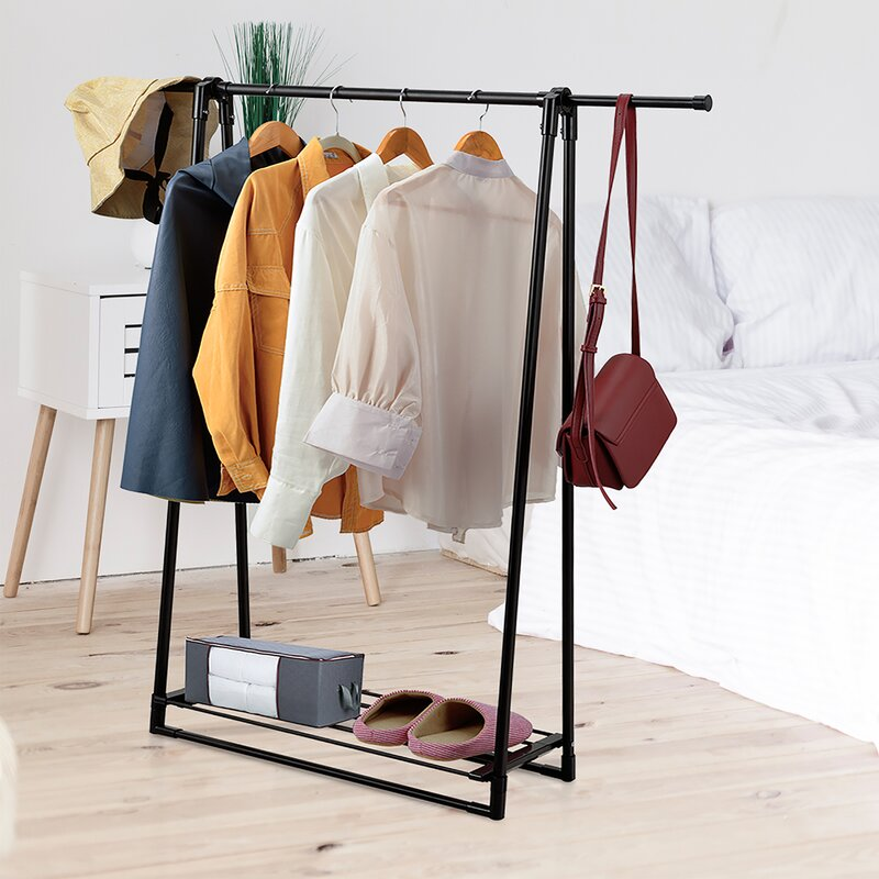 Apartment and Dorm Function Home Hanging Wardrobe,Metal Garment Rack with Wood Shelf,Closet Oraganizer Rack or Bedroom Black Living Room