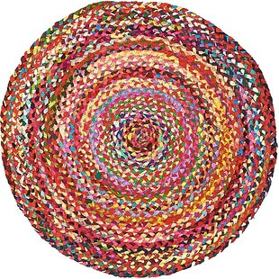 Partee Hand-Braided Cotton Yellow/Pink Area Rug by August Grove
