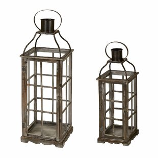 Oversized 2 Piece Wood Lantern Set