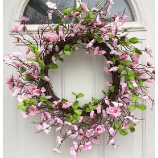 Spring Festival Cherry Blossom Silk Floral Wreath With Door Hanger