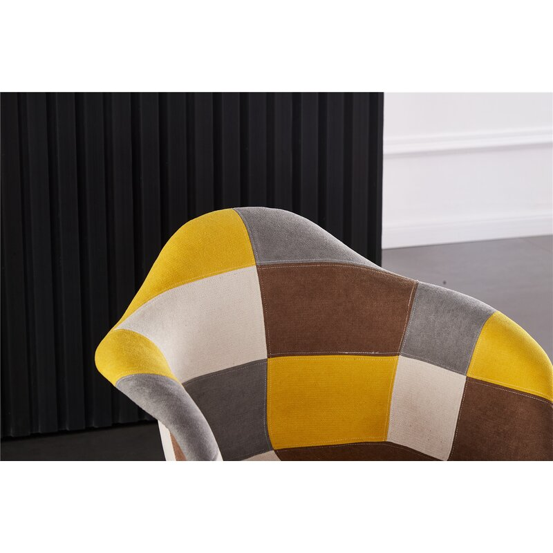George Oliver Roberson Upholstered Arm Chair In Yellow Brown White Wayfair