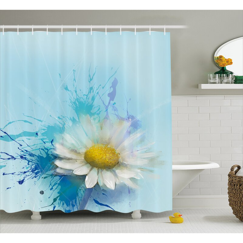 Mathis Oil Painting Chamomile Pattern With Splash On Background Image Shower Curtain