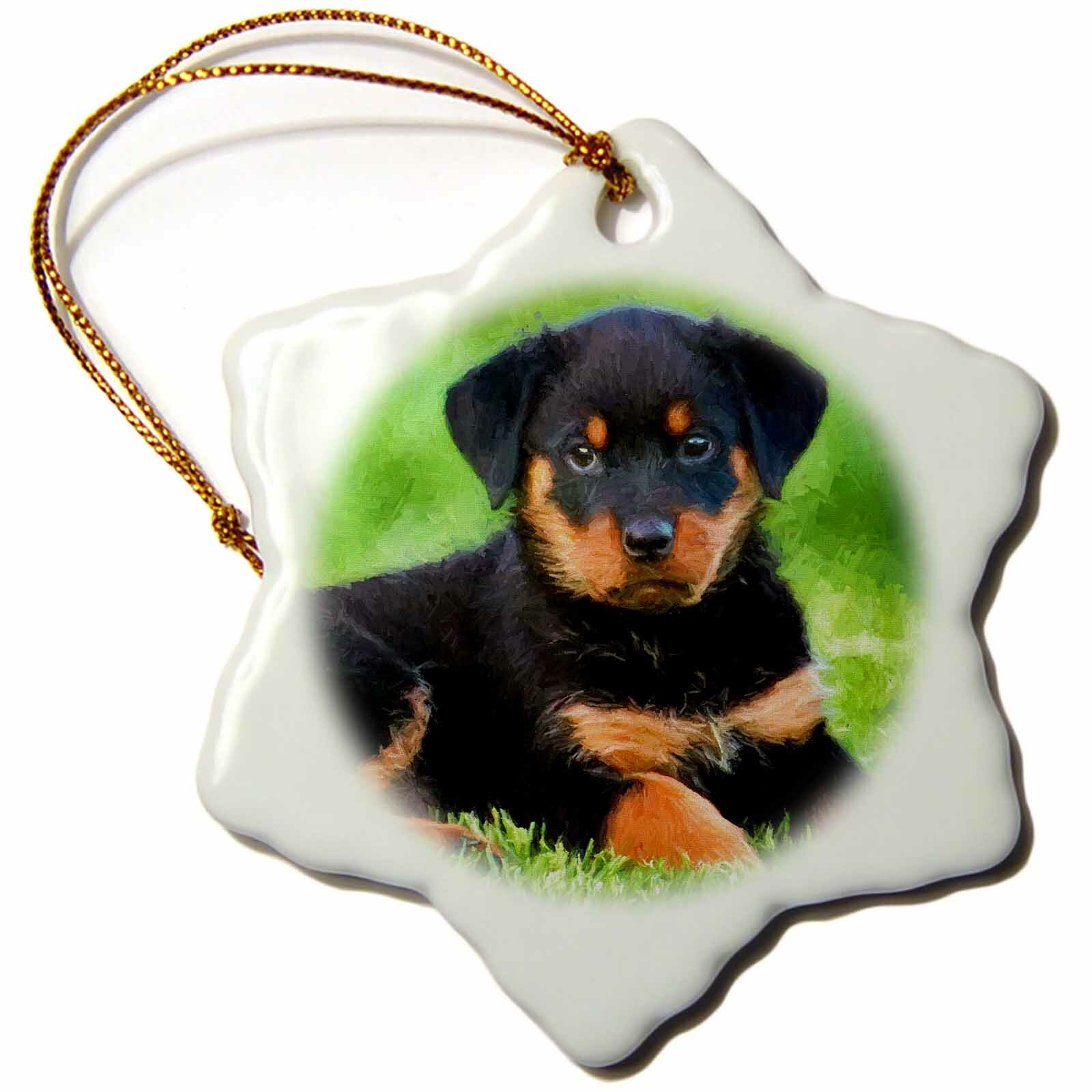 The Holiday Aisle Cute Rottweiler Puppy Dog Snowflake Holiday Shaped Ornament Wayfair