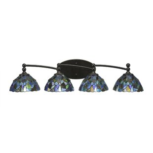 Savings Skypark 4-Light Mosaic Tiffany Glass Shade Vanity Light By Winston Porter