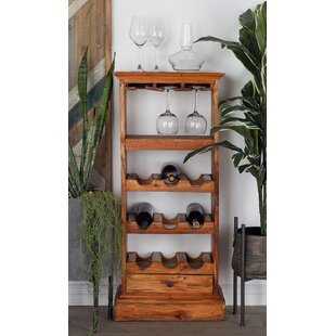Wood 9 Bottle Floor Wine Bottle Rack by C..