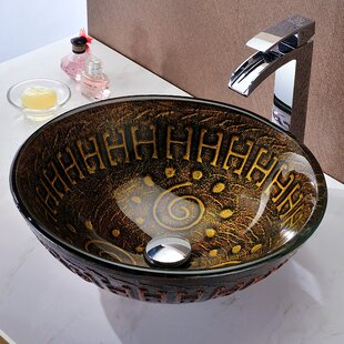 ANZZI Opus Glass Circular Vessel Bathroom Sink