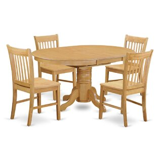 Emmaline 5 Piece Solid Wood Dining Set by Alcott Hill No Copoun