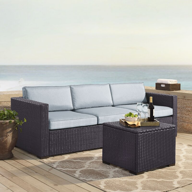 Lawson 3 Piece Rattan Sofa Seating Group with Cushions ...