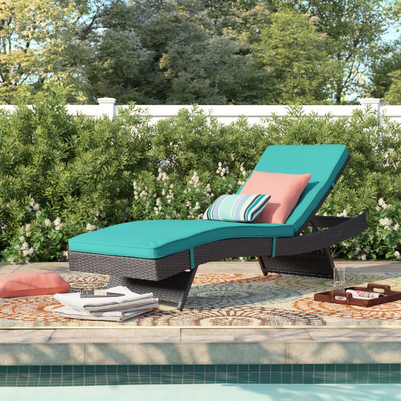Sol 72 Outdoor Brentwood Reclining Chaise Lounge with Cushion