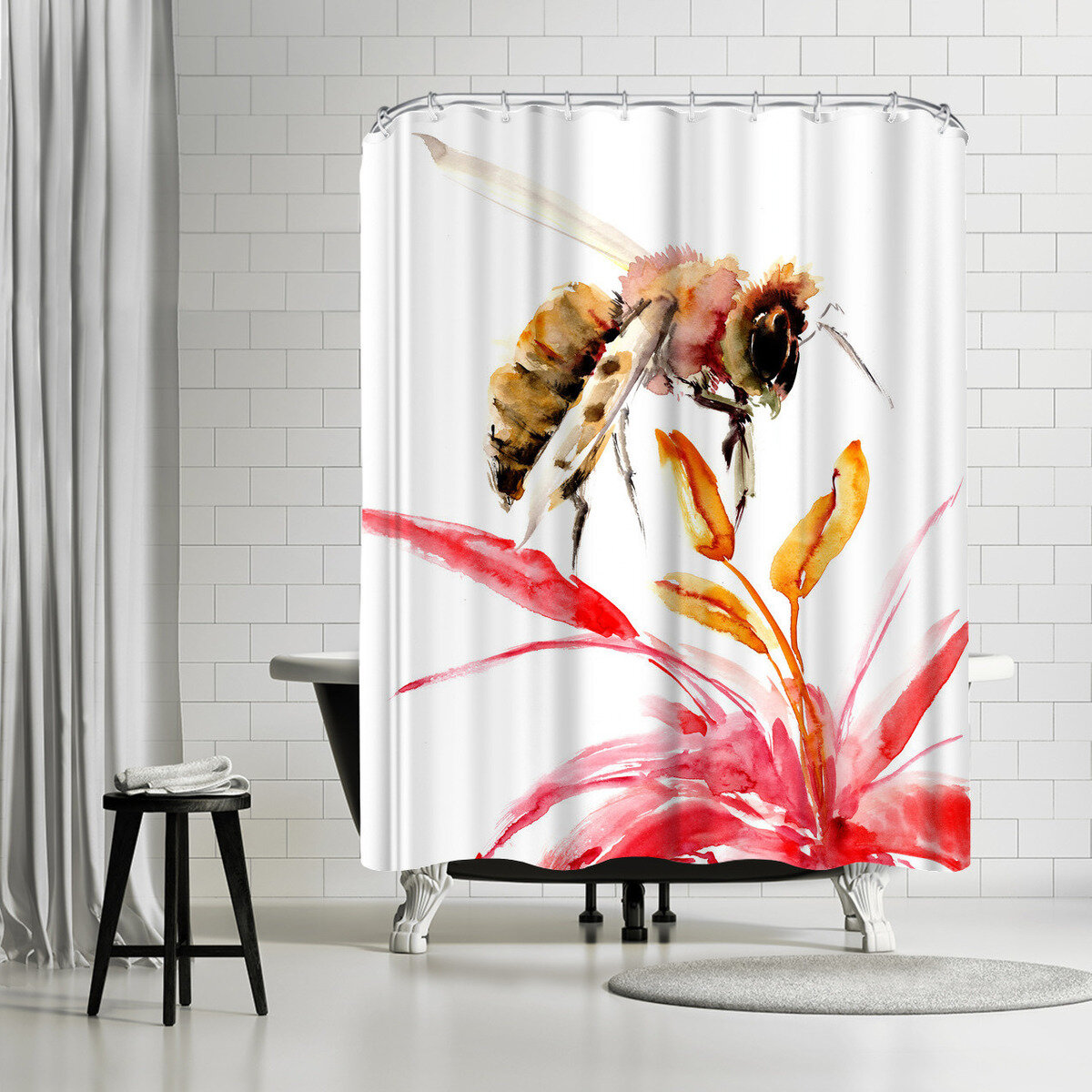 East Urban Home Suren Nersisyan Honey Bee 2 Single Shower Curtain Wayfair