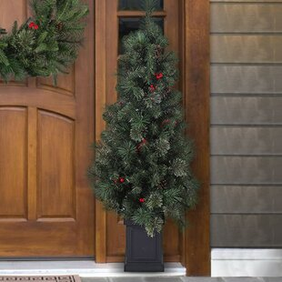 cashmere mixed porch 4 green pine trees artificial christmas tree with 100 lights