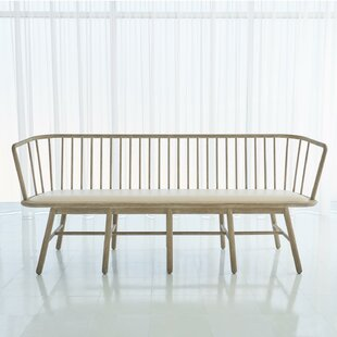 Spindle Long Faux Leather Bench by Global Views