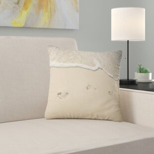 Seascape Footprints in Sand on the Beach Pillow