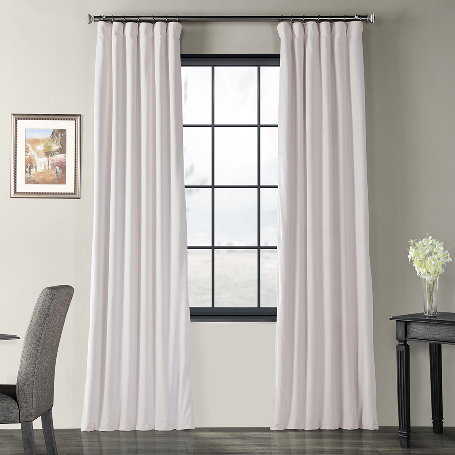 4 Pices Solid Suede Grommet Top Curtain//Panel//Drape Navy Blue Home Fashion