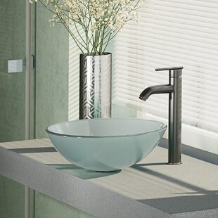 Great choice Glass Circular Vessel Bathroom Sink with Faucet ByRené By Elkay
