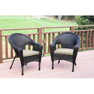 Watts Wicker Single Patio Dining Chair with Cushion (Set of 2)