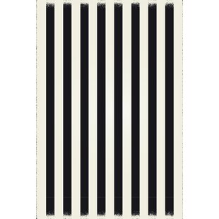 Reviews Cousar Strips of European Black/White Indoor/Outdoor Area Rug By Ebern Designs