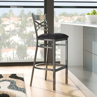 MacArthur 31 Black Bar Stool Ebern Designs
