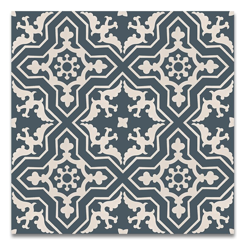 "Temara 8"" x 8"" Handmade Cement Tile in Navy/White"