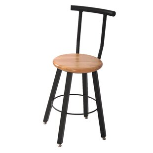 24 Round Hardwood Seat 4 Leg Stool with Backrest by WB Manufacturing