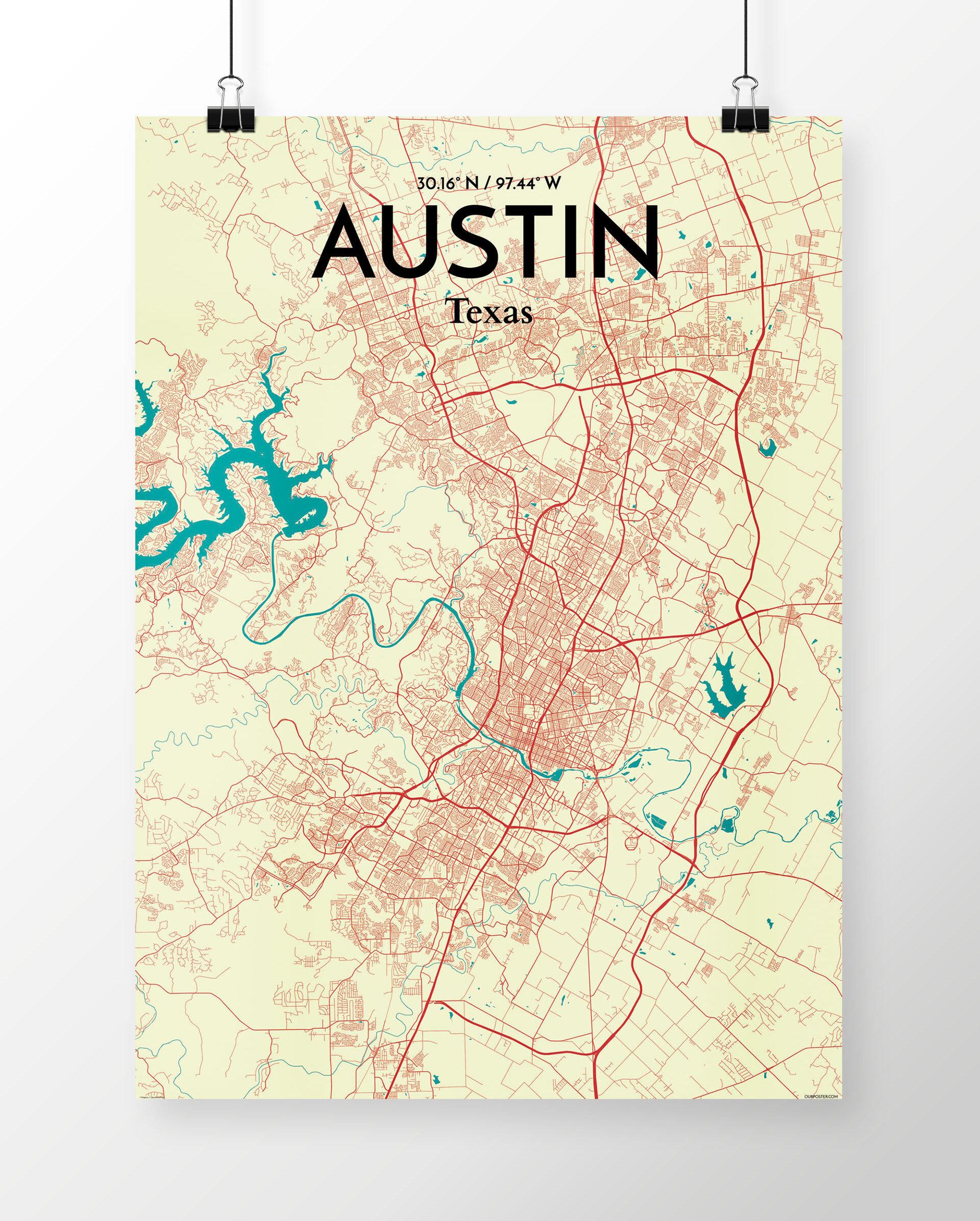 Wrought Studio \'Austin City Map\' Graphic Art Print Poster in Beige ...