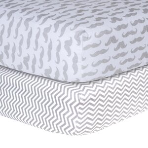 Mustache and Chevron Print Flannel Fitted Crib Sheet Set