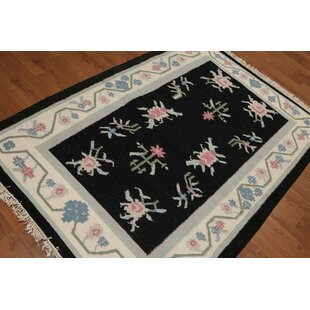 One-of-a-Kind Gilles Dhurry Kilim Reversible Hand-Woven Black Area Rug By Astoria Grand