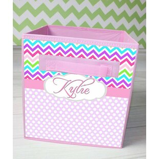 Best Reviews Chevron Personalized Fabric Bin By Toad and Lily