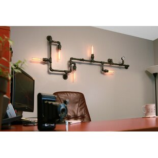 Read Reviews Steampunk 5-Light Industrial Pipe Wall Light By West Ninth Vintage