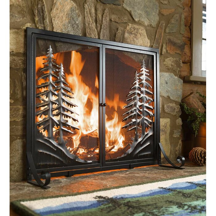 Admirable Alpine Double Panel Steel Fireplace Screen Home Remodeling Inspirations Genioncuboardxyz