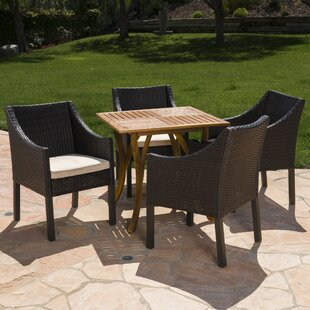 Guerrera Teresa Outdoor Acacia Wood/Wicker 5 Piece Dining Set with Cushions