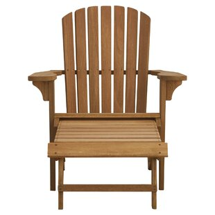 Delatorre Wood Adirondack Chair with Ottoman