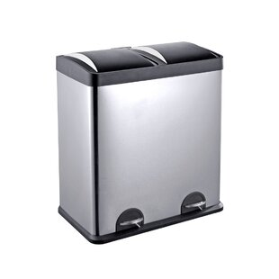 Step N Sort Stainless Steel 2-Compartment 16 Gallon Trash Can