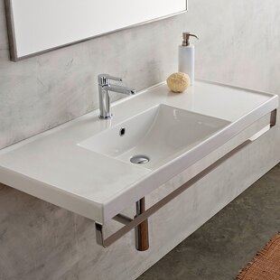 Compare ML Ceramic 48 Wall Mount Bathroom Sink with Overflow By Scarabeo by Nameeks