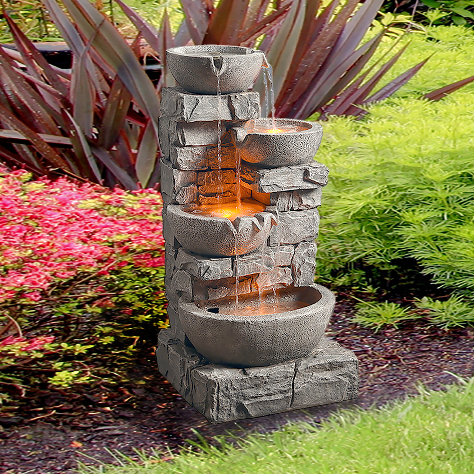 Ivy Bronx Petrie Resin Stone Tiered Bowls Fountain With Light Reviews Wayfair