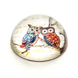 Value Arts Company Vintage Owl on Branch Crystal Dome Paperweight