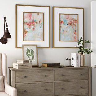 'A Touch of Blush and Rosewood Fences' 2 Piece Framed Painting Print Set