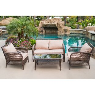 Ambrosia 4 Piece Rattan Conversation Set with Cushions