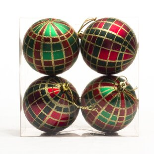 polypropylene plaid ornament set of 4