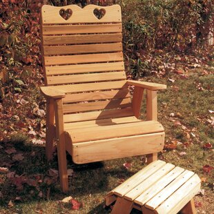 Cedar Furniture and Accessories Country Hearts Solid Wood Adirondack Chair with Ottoman