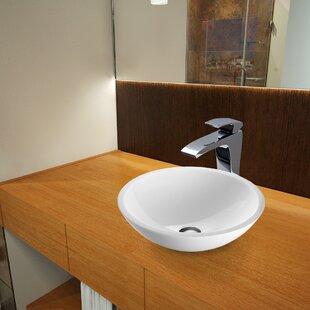 Flat Edged White Phoenix Glass Circular Vessel Bathroom Sink with Faucet VIGO