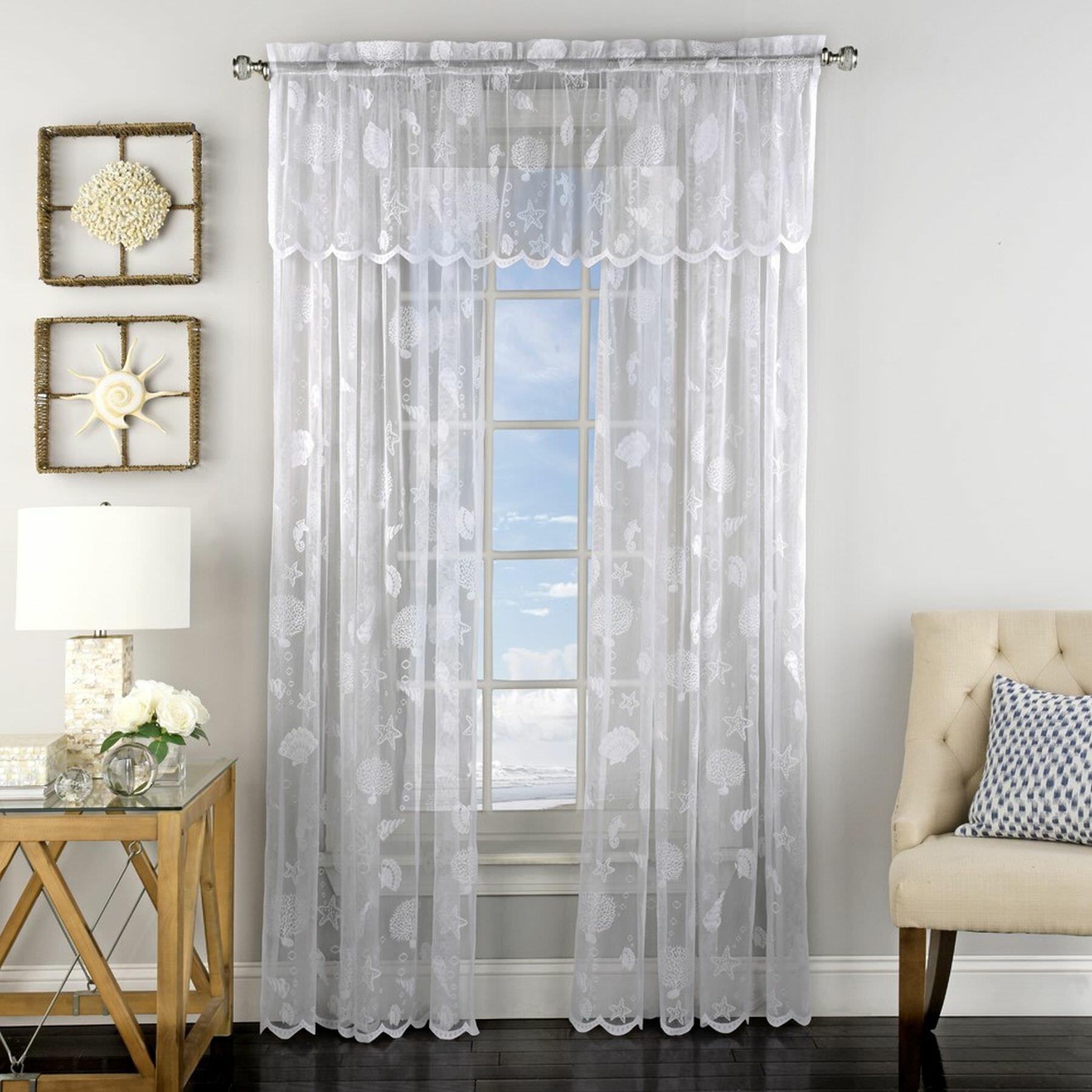 Highland Dunes Antonella Corales De Marina Knitted Jacquard Lace Window Semi Sheer Single Curtain Panel Reviews Wayfair