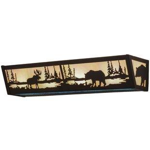 Meyda Tiffany Greenbriar Oak Moose and Black Bear 4-Light Bath Bar