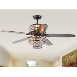 52 Gagnon 5 Blade Ceiling Fan with Remote By House of Hampton Ceiling Lights