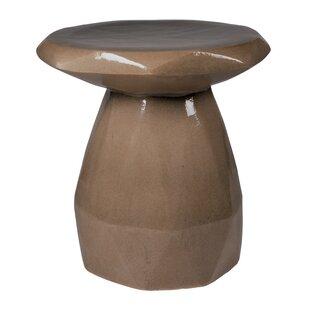 Geo Ceramic Pedestal End Table by Seasona..