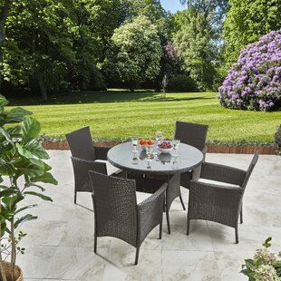 Morethampstead 4 Seater Dining Set With Cushions By Sol 72 Outdoor