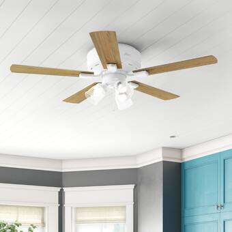 888 Cool Fans 52 5 Blade Flush Mount Ceiling Fan With Pull Chain And Light Kit Included Wayfair Ca